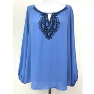 New York & Company Blouse XL Blue Keyhole L/S